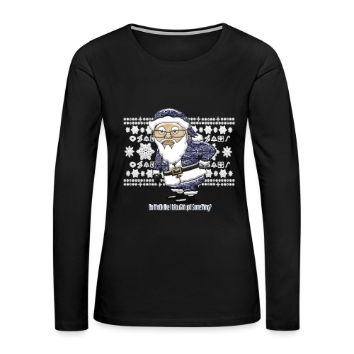 Mocking Santa Women's Longsleeve Tee (Blue Edition) - Women's Premium Long Sleeve T-Shirt