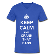 T-Shirts ~ Men's V-Neck T-Shirt by Canvas ~ Keep Calm And Crank That Bass V-Neck