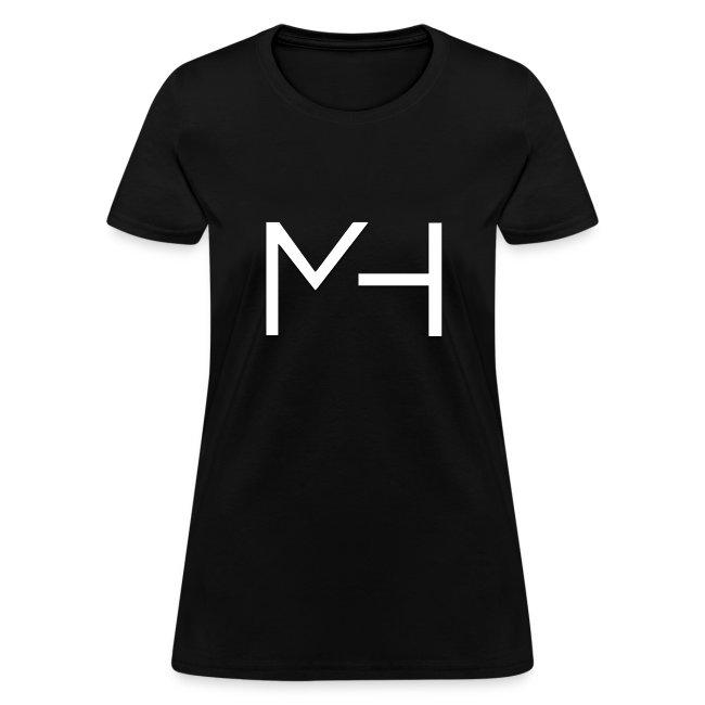 Michael Tienda Mh Firma Texto Blanco Womens T Shirt