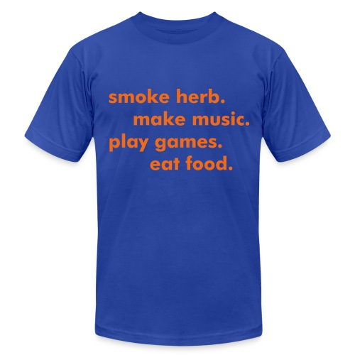 smoke herb. make music. play games. eat food. - Men's Fine Jersey T-Shirt