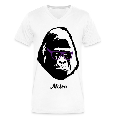 Gorilla V Neck T-Shirt - Men's V-Neck T-Shirt by Canvas