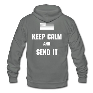 Keep Calm Zip Hoodie - Unisex Fleece Zip Hoodie by American Apparel