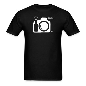 Men's Black T-shirt With White Logo BLN front and Drink and Click on Back - Men's T-Shirt