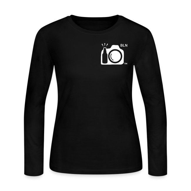 Women's Black Long Sleeve T-shirt Fit. White Drink and Click logo with Berlin Initials  and Drink and Click on Back