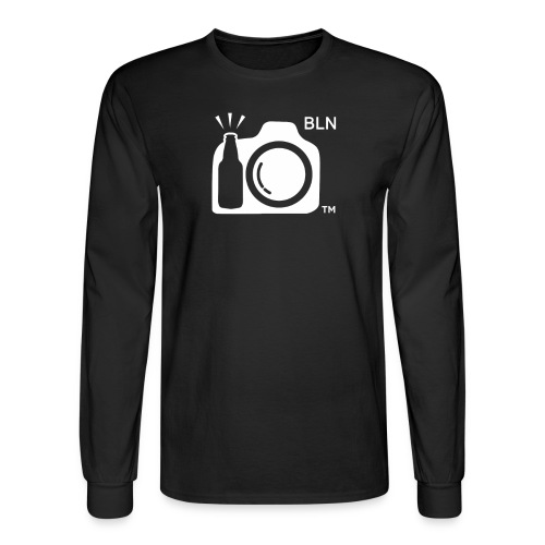Men's Black long sleeve With White Logo BLN front and Drink and Click on Back - Men's Long Sleeve T-Shirt