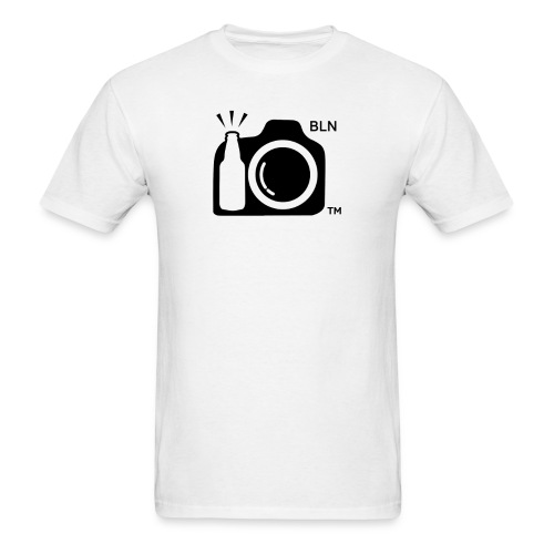 Men's White T-shirt With Black Logo BLN front and Drink and Click on Back - Men's T-Shirt