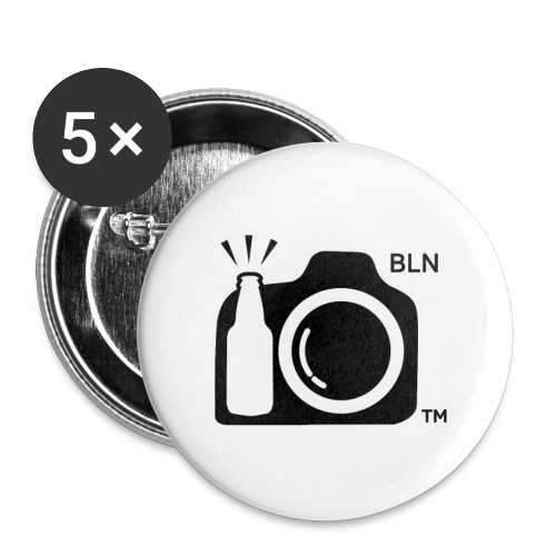 Round Button With Black Drink and Click Logo Berlin Initials - Large Buttons