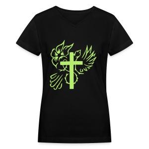 Womens Cross/Dove outline - Women's V-Neck T-Shirt