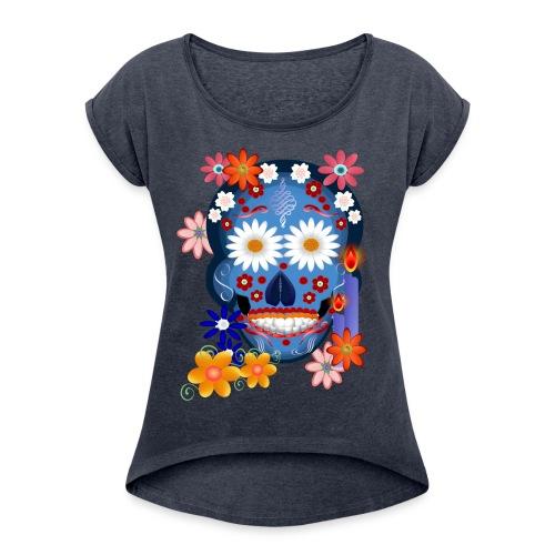 DarkSkull-Day Of The Dead. - Women's Roll Cuff T-Shirt