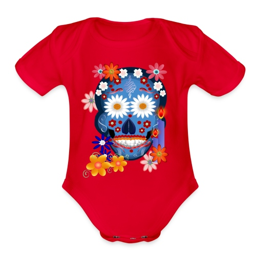DarkSkull-Day Of The Dead. - Organic Short Sleeve Baby Bodysuit