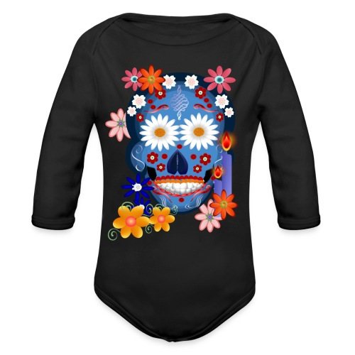 DarkSkull-Day Of The Dead. - Organic Long Sleeve Baby Bodysuit