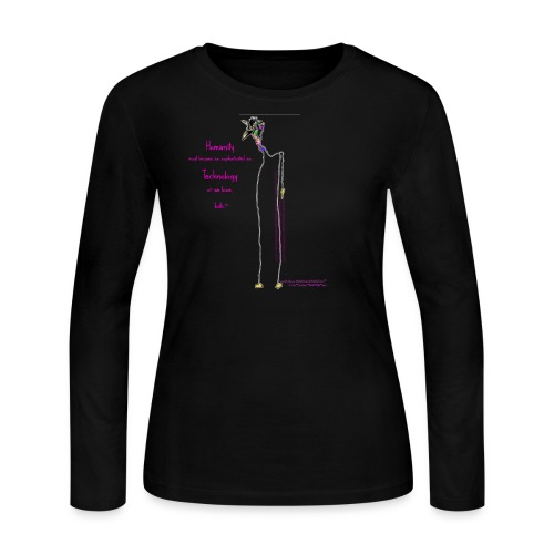 Humanity Must Become As Sophisticated As Technology Or We Lose Both ™ Butterfly Walks Giraffe ; MyWildLifeInTheCiti™ ©CaliLili™ BLACK LONG SLEEVE TEE  - Women's Long Sleeve Jersey T-Shirt