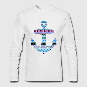Anchor with Blue Tribal Pattern Long Sleeve Shirts - Men's Long Sleeve T-Shirt by Next Level