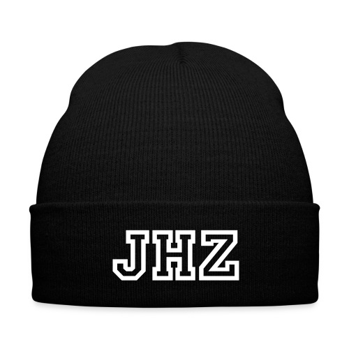 JHZ Knitted Cap - Black - Knit Cap with Cuff Print
