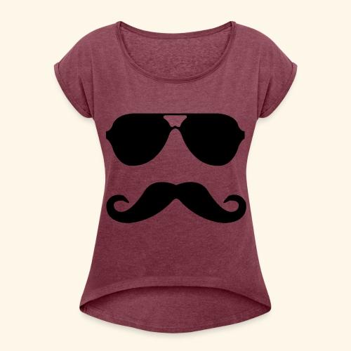 MUSTACHE PARTY - Women's Roll Cuff T-Shirt