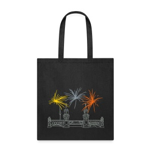 Berlin fireworks New Year's Eve at Oberbaum Bridge - Tote Bag