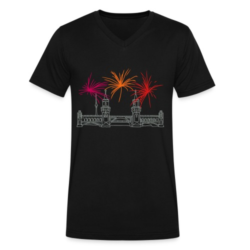 Berlin fireworks New Year's Eve at Oberbaum Bridge - Men's V-Neck T-Shirt by Canvas