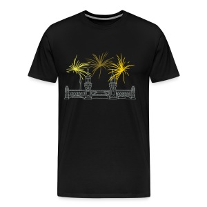 Berlin fireworks New Year's Eve at Oberbaum Bridge - Men's Premium T-Shirt