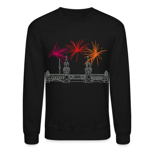 Berlin fireworks New Year's Eve at Oberbaum Bridge - Crewneck Sweatshirt