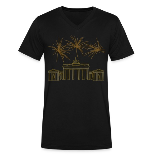 Berlin fireworks New Year's Eve at the Brandenburg Gate. - Men's V-Neck T-Shirt by Canvas