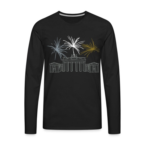 Berlin fireworks New Year's Eve at the Brandenburg Gate. - Men's Premium Long Sleeve T-Shirt