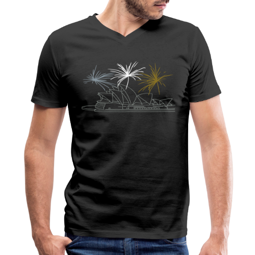 Fireworks at Opera house New Year's Eve in Sydney - Men's V-Neck T-Shirt by Canvas