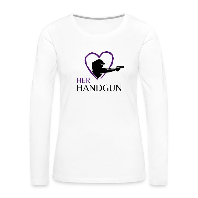 HerHandgun Two-Tone BLACK Logo with PURPLE Heart - Long Sleeve Tee