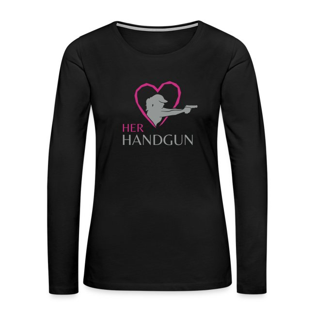 HerHandgun Two-Tone GRAY Logo with HOT PINK Heart - Long Sleeve Tee