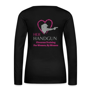 ADD your name to this HerHandgun Two-Tone GRAY Logo with HOT PINK Heart - Long Sleeve Tee - Women's Premium Long Sleeve T-Shirt