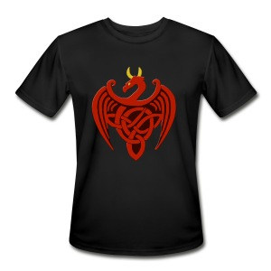 Red Celtic Trinity Knot Dragon Shirt - Men's Moisture Wicking Performance T-Shirt
