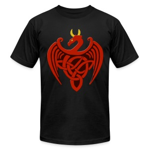Red Celtic Trinity Knot Dragon Shirt - Men's T-Shirt by American Apparel