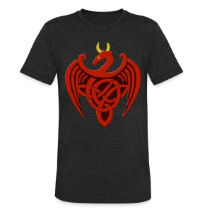 Red Celtic Trinity Knot Dragon Shirt - Unisex Tri-Blend T-Shirt by American Apparel