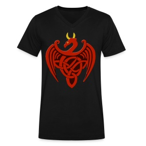 Red Celtic Trinity Knot Dragon Shirt - Men's V-Neck T-Shirt by Canvas