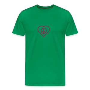 Peace Heart - Magenta on Kelly Green - Men's Premium T-Shirt