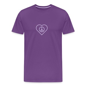 Peace Heart - Lavender on Purple - Men's Premium T-Shirt