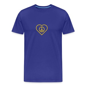 Peace Heart - Gold(enrod) on Royal Blue - Men's Premium T-Shirt