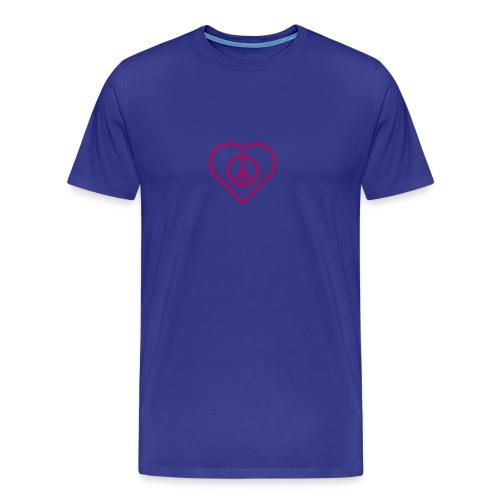 Peace Heart  - Magenta on Royal Blue - Men's Premium T-Shirt