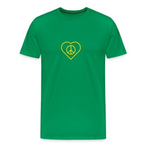 Peace Heart - Gold(enrod) on Kelly Green - Men's Premium T-Shirt