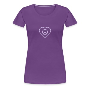 Peace Heart - Lavender on Purple - Women's Premium T-Shirt