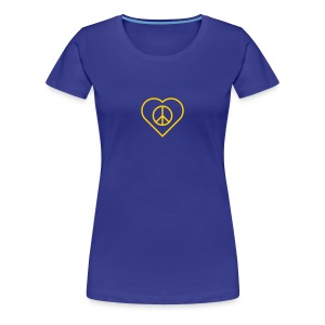 Peace Heart - Gold(enrod) on Royal Blue - Women's Premium T-Shirt