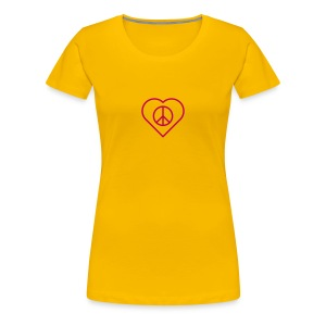 Peace Heart - Magenta on Sun Yellow - Women's Premium T-Shirt