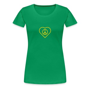 Peace Heart - Gold(enrod) on Kelly Green - Women's Premium T-Shirt