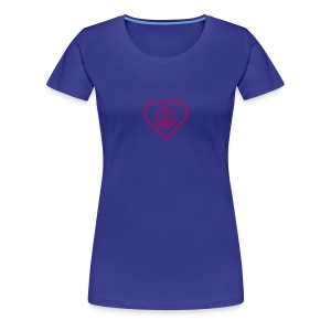 Peace Heart - Magenta on Royal Blue - Women's Premium T-Shirt