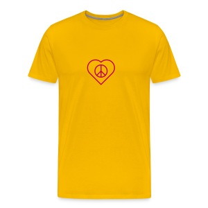 Peace Heart - Magenta on Sun Yellow - Men's Premium T-Shirt