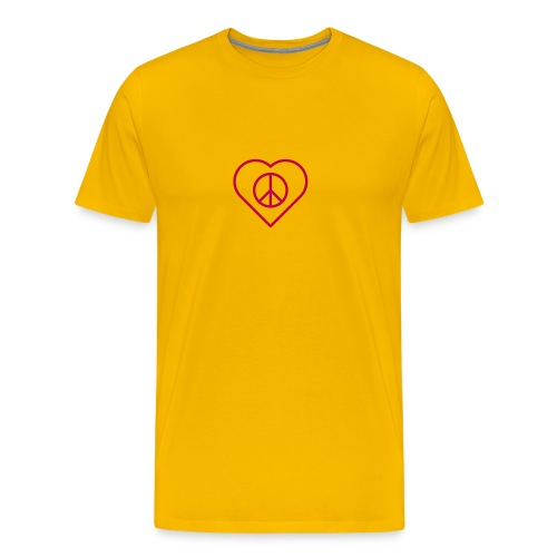 Peace Heart - Magenta on Sun Yellow - Men's Premium T-Shirt