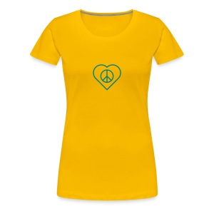 Peace Heart - Teal on Sun Yellow - Women's Premium T-Shirt