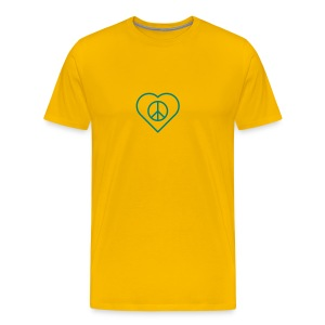 Peace Heart - Teal on Sun Yellow - Men's Premium T-Shirt