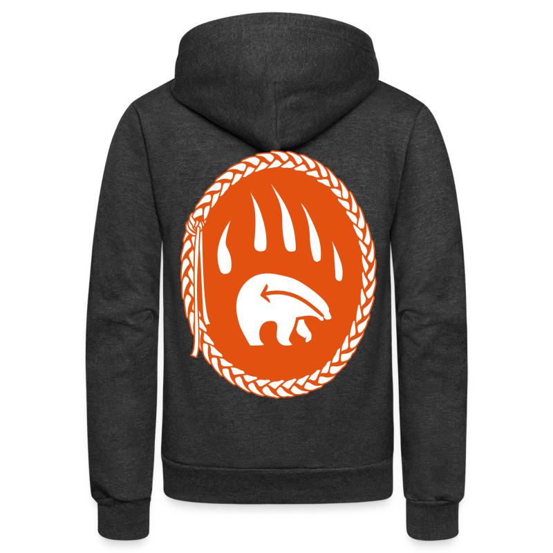 Tribal Bear Hoodie Men's First Nations Shirt - Unisex Fleece Zip Hoodie by American Apparel