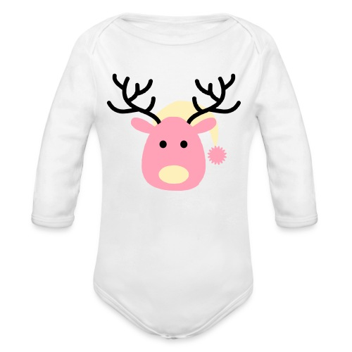 Yellow and Pink Baby Rain-deer - Organic Long Sleeve Baby Bodysuit