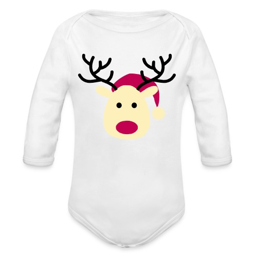 Fushia and Yellow Baby Rain-deer - Organic Long Sleeve Baby Bodysuit